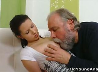 Old guy fucks a teen's butt crack _: old man young woman big natural tits