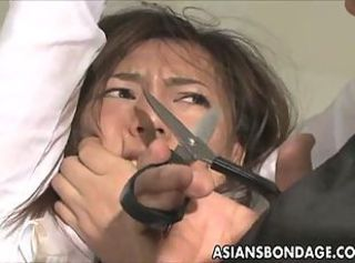Asian brunette enjoys electric bondage session _: painful round ass