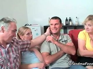 Nasty foursome with granny and grandpa _: old man young woman big natural tits