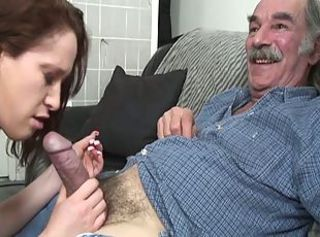 Young brunette slut gets first taste of old dick _: old man young woman big ass