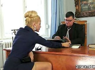 Chary kiss sucks and fucks her boss _: old man young woman office