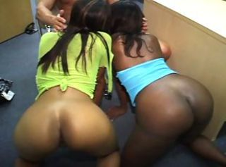 Nasty ebony bitches share cock _: round ass