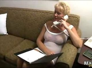 Naughty blonde milf gets her sexy body massaged _: homemade round ass