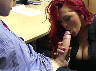 Busty redhead secretary slammed by the brush boss _: obese upfront tits office