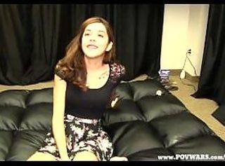 POV Wars young babe sucks and plays with 3 strangers