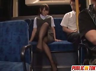 Hot asian milf in stockings fucked on the bus