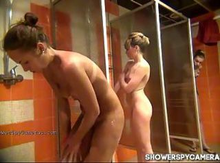 Hidden camera in a swimming pool shower _: spy cam big natural tits chubby round ass voyeur