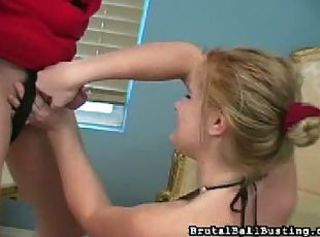 Hayden night squeezes cock and kicks balls _: painful femdom humiliation