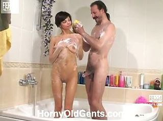 Teen Gertie takes a shower with daddy Karl