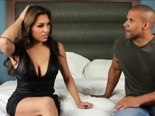 Busty latina TS Jessy Dubai analed while jerking her dick