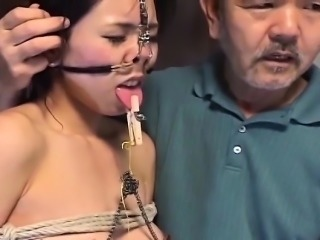 Progressive Japanese BDSM with toilet water hooks together with clamps Subtitled