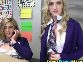 Naughty schoolgirls fuck
