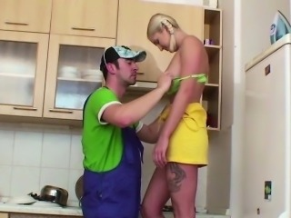 German Laddie fucked by repairman when matriarch and dad broadly
