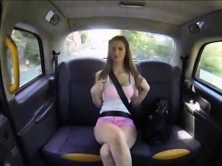 Busty amateur Stella Cox masturbates and fucked in the cab