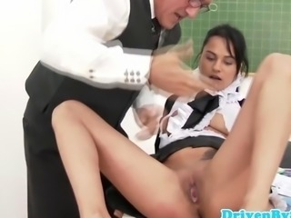Busty teacher fucks old guy with schoolgirls