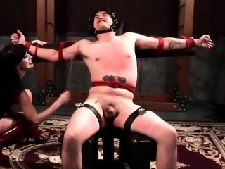 Weirdo mistress torturing her male sex accompanying