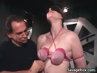 Nasty brunette Catherine is sex slave