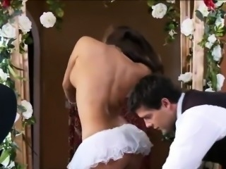 Bride Kissing Their way New Husbands Cock