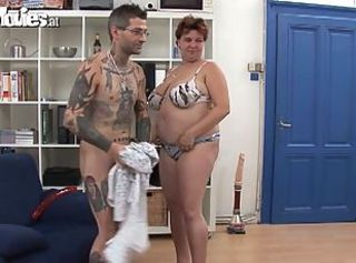 Chubby brunette mature sucks a tattooed dude