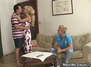 Kinky girlfriend has a threesome with his parents