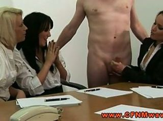 Hot office femdoms tugging on dick