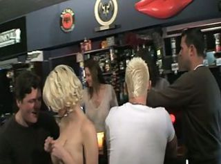Blonde bitch pounded in a bar by a group of guys