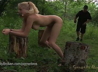 Allie james enjoys bdsm pleasures outdoors