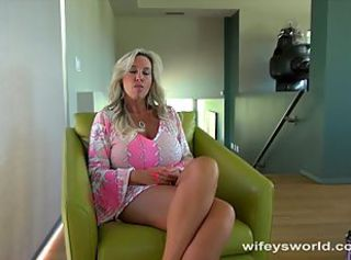 Slutty blonde milf wifey gives a pov blowjob