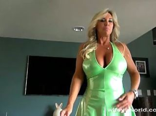 Milf with mega boobs banged in the living room