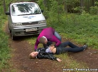 Blonde teen slut gets banged in the forest