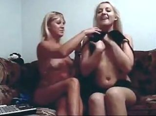 Blond Mother and not Her Daughter Play on Webcam