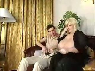 Real busty Mom fucks at the end of one's tether skinny boy