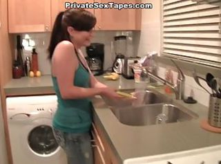 Sexy girlfriend fucked hard in the kitchen