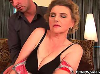 Blonde mature in stockings gets banged hard