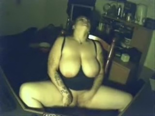 My pervert busty materfamilias having fun at PC. Hidden cam