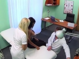 Nurse fucking with huge tits patient on the table
