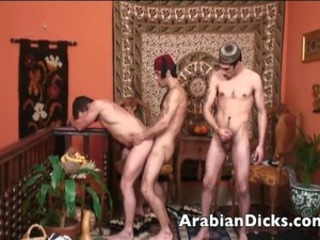 Wild and horny Arabian twinks in get under one's playroom wastes no time and bends over...