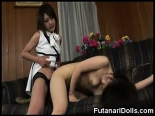 Futanari Cums Twice on Her Teen GF!