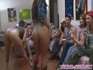 Horny college girls fucked in drunk orgy