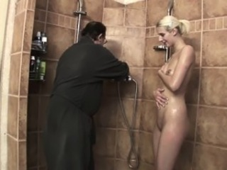 Lewd Stepdad Fucking His Skinny Blonde Stepdaughter