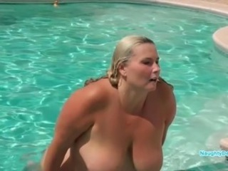 Big Tits  Mom Natural Outdoor Pool