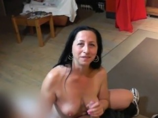 Lapdance, handjob and ride on big cock away from chubby MILF
