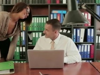 Classy secretary Alexis Brill fucks their way boss