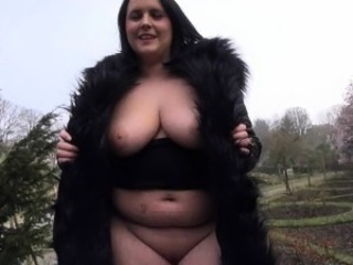 Busty milf Sarah Janes flashing huge tits and public