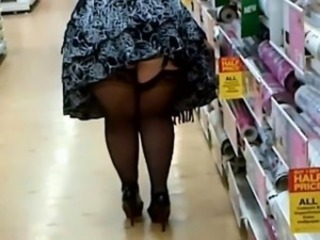 Obese Woman In Stockings Plus Heels Shopping