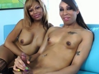Busty ebony trannys cumming after they jerk each every other