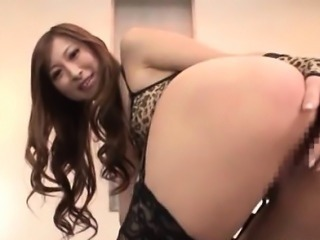 Superb jap redhead working cunt and toy teasing butt hole