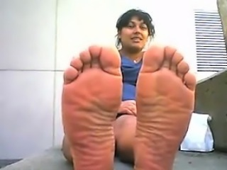 Indian Woman Shows Off Her Feet Outside