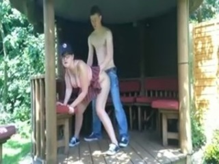 Naughty couple fuck in public