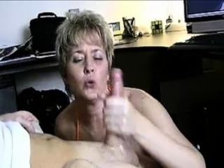 Milf Helps Lucky Guy\'s Cock Spurt With Jizz